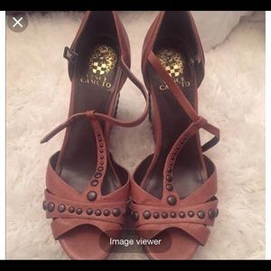 Vince Camuto Brown Studded Wedge